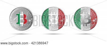 Three Bitcoin Crypto Coins With Flag Of Italy. Money Of The Future. Modern Cryptocurrency Vector Ill