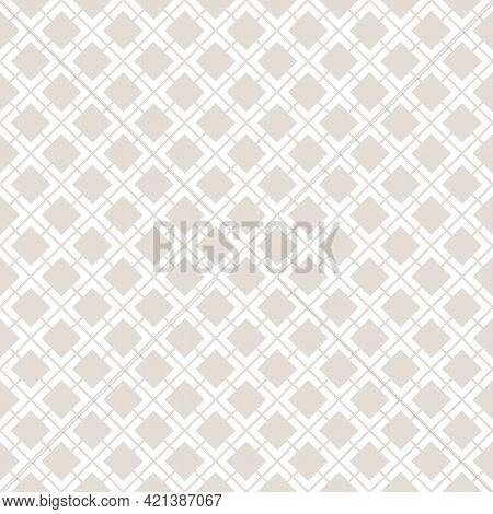 Subtle Vector Geometric Seamless Pattern. Abstract Texture With Small Diamond Shapes, Rhombuses, Squ