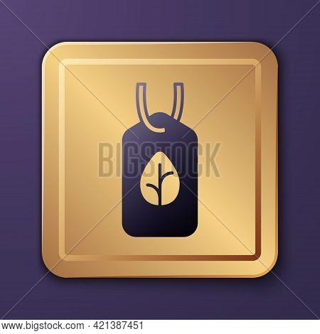 Purple Vegan Food Diet Icon Isolated Purple Background. Organic, Bio, Eco Symbol. Vegan, No Meat, La