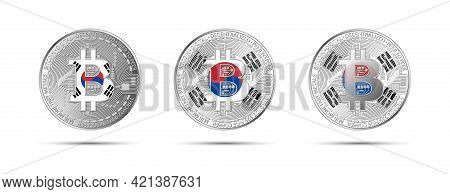 Three Bitcoin Crypto Coins With The Flag Of South Korea. Money Of The Future. Modern Cryptocurrency