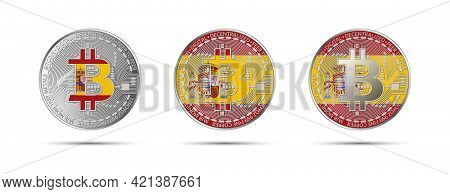 Three Bitcoin Crypto Coins With The Flag Of Spain. Money Of The Future. Modern Cryptocurrency Vector