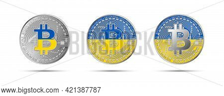Three Bitcoin Crypto Coins With The Flag Of Ukraine. Money Of The Future. Modern Cryptocurrency Vect