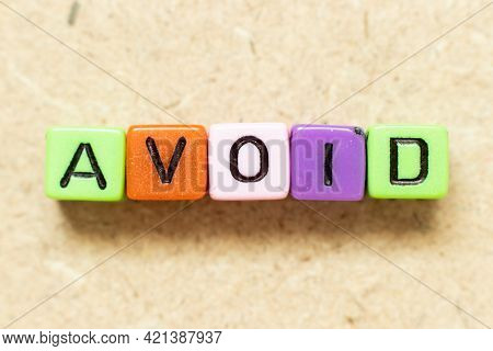 Color Alphabet Letter Block In Word Avoid On Wood Background