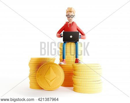 Cartoon Character Standing Next To A Large Ethereum Coin. Happy Man Do Ethereum Mining. Blockchain A