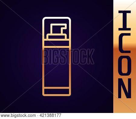Gold Line Shaving Gel Foam Icon Isolated On Black Background. Shaving Cream. Vector