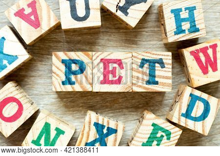 Alphabet Letter Block In Word Pet (animal Or Abbreviation Of Polyethylene Terephthalate) With Anothe