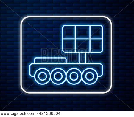 Glowing Neon Line Mars Rover Icon Isolated On Brick Wall Background. Space Rover. Moonwalker Sign. A