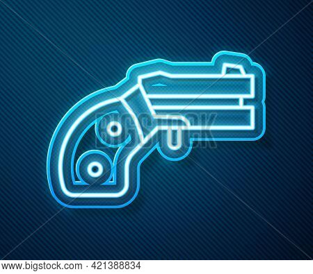 Glowing Neon Line Small Gun Revolver Icon Isolated On Blue Background. Pocket Pistol For Self-defens