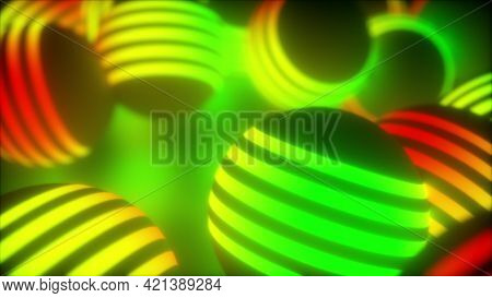 Creative Geometric Tracery Of Large 3d Render Balls Spinning In Space. Bright Planets Shape In Digit