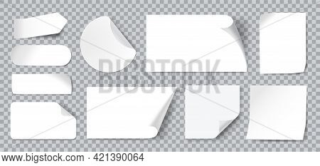 White Stickers. Blank Adhesive Sticker With Folded Or Curled Corners. Realistic Paper Sticky Notes I