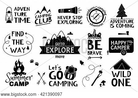 Adventure Lettering. Traveling, Hiking, Camping Quotes With Doodle Elements. Summers Vacation, Touri