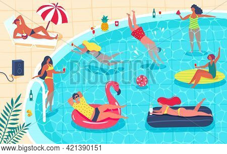 Swimming Pool Party. Men And Women In Swimsuit Sunbathing, Drinking Cocktails, Relaxing. Summer Part