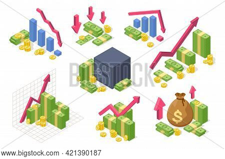 Money Isometric Chart. Income Growth, Financial Success Concept With Money, Coins, Upward Arrow. Eco