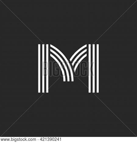 Monogram Letter M Logo Offset Thin Parallel Lines Minimal Design, Linear Creative Business Card Embl