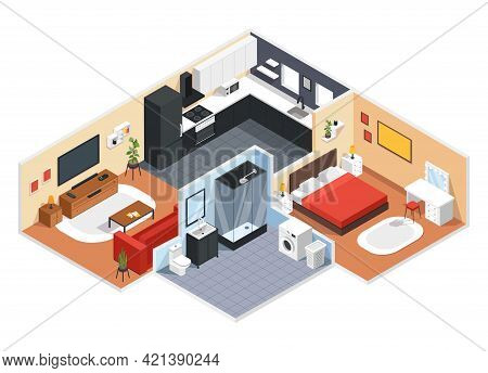 Isometric Apartment. Modern Apartment Interior Design With Bedroom, Living Room, Kitchen, Bathroom.