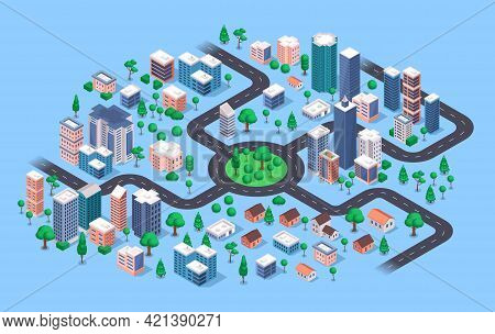 Isometric City. Modern Urban Cityscape With Buildings, Apartment Houses, Skyscrapers, Roads, Streets