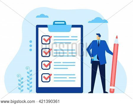 Businessman Checklist. Office Worker With Pen Looking At Completed Checklist. Successful Business Ta