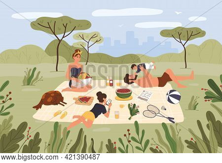 Family Picnic. Happy Parents And Children Spending Time Together And Relaxing At City Park. Summer O