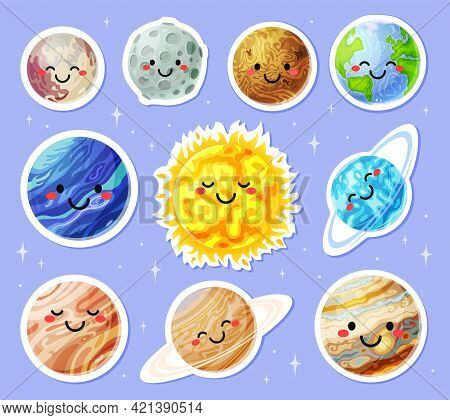 Planet Stickers. Cartoon Planets With Cute Faces. Sun, Earth, Moon, Mars Sticker. Funny Solar System