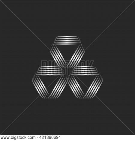 Triangles Logo Geometric Shapes, Creative Linear Pattern Of Thin Metallic Parallel Lines.