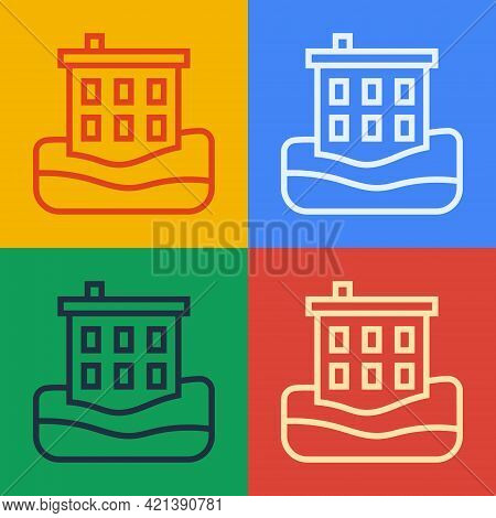 Pop Art Line House Flood Icon Isolated On Color Background. Home Flooding Under Water. Insurance Con