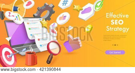 3d Vector Conceptual Illustration Of Digital Marketing Campaign, Web Search Engine Algorithms, Seo O