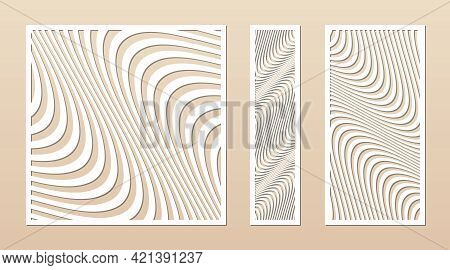 Laser Cut Patterns. Vector Design With Abstract Geometric Ornament, Waves, Curved Lines, Stripes. Te