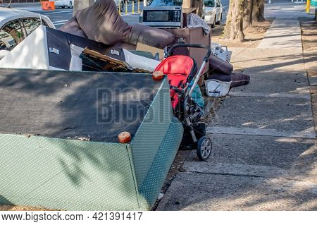 Household Miscellaneous Rubbish Items Put On The Street For Council Bulk Waste Collection
