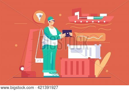 Man Worker Stay In Port Vector Illustration. Cargo Ships In Sea Port Flat Style. Logistic Service, G