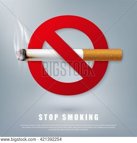 Stop Smoking Campaign Illustration No Cigarette For Health Cigarette And Red Forbidden Sign