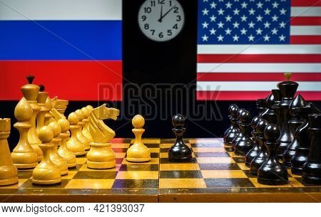 Russia Vs Usa, Chess Like Geopolitics Game. Flags Of United States And Russian Federation Behind Che