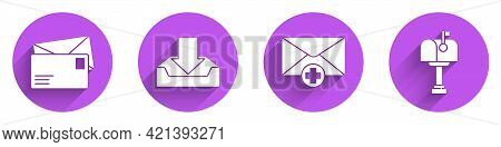 Set Envelope, Download Inbox, Received Message Concept And Mail Box Icon With Long Shadow. Vector
