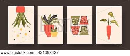 Set Of Contemporary Art Posters With Plants In Big Or Small Pots. Flowerpots, Cacti, Large Leaves Pa
