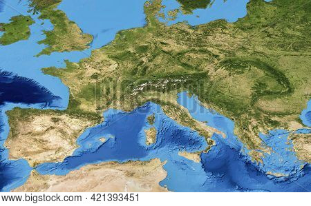Europe Flat View From Space, Detailed Map On Global Satellite Photo. European Part Of Physical World