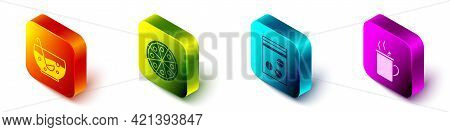 Set Isometric Mixed Punch In Bowl, Pizza, Plastic Bag Of Drug And Mulled Wine Icon. Vector