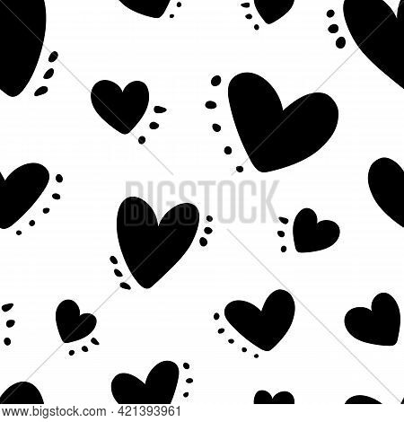 Cute Baby Pattern With Black Hearts And Spots, Dots, Love Texture, Romantic Print. Seamless Pattern