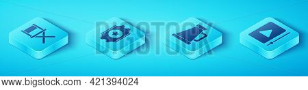 Set Isometric Director Movie Chair, Cinema Ticket, Online Play Video And Megaphone Icon. Vector