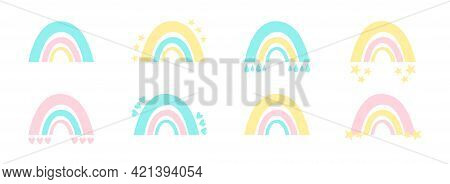 Cute Baby Set Of Rainbows In Three Colors - Yellow, Blue And Pink. Simple Boho Rainbows For Nursery,