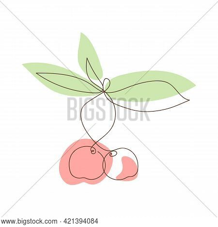 Simple Sketch Of Cherries With Leaves, Colored Abstract Spots, Doodle Style, Hand Drawn. Cherry Line