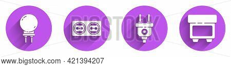 Set Light Emitting Diode, Electrical Outlet, Electric Plug And Fuse Icon With Long Shadow. Vector