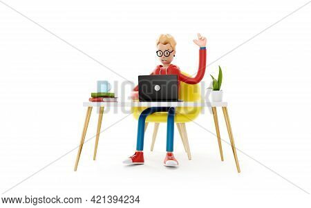 Cartoon Character Sits At The Table With A Laptop. Concept Of Distance Work, Study And Communication