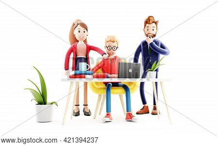 Cartoon Character Working On The Laptop With Team. Concept Of Teamwork, Study And Communication. Cod