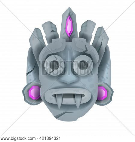 Vector Stone Tiki Mask, Aztec Ancient Totem Face, Tribal Warrior Idol Isolated On White, Jewels. Pri