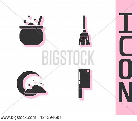Set Meat Chopper, Halloween Witch Cauldron, Moon And Stars And Witches Broom Icon. Vector
