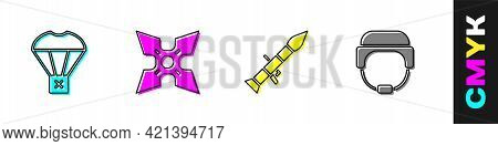 Set Box Flying On Parachute, Japanese Ninja Shuriken, Rocket Launcher And Military Helmet Icon. Vect