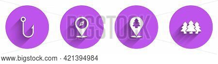 Set Fishing Hook, Compass, Location Of The Forest And Forest Icon With Long Shadow. Vector