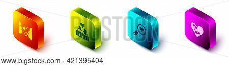 Set Isometric Love At First Sight, Couple In Love, Search Heart And And Healed Broken Icon. Vector