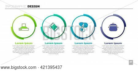 Set Kitchen Extractor Fan, Packet Of Pepper, Broken Egg And Cooking Pot. Business Infographic Templa