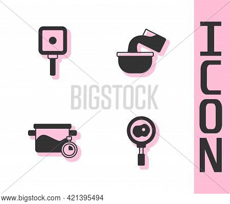 Set Fried Eggs On Frying Pan, Frying, Cooking Pot And Saucepan Icon. Vector