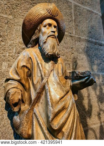 Wooden Statue Of The Apostle Saint James The Great.